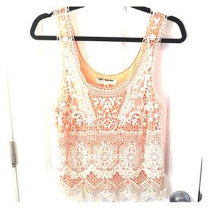 Crochet white and pink tank top